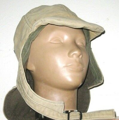 Vintage Military WWII USN US Navy Tan Canvas Deck Hat Cap with Adjust Strap Sz 7