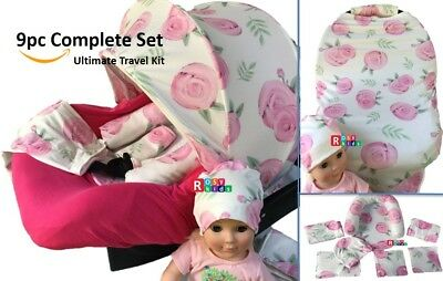 WHOLE CABOODLE CarSeat Canopy 9pc Set STRETCH Baby Car Seat Cover pink rosy NEW!