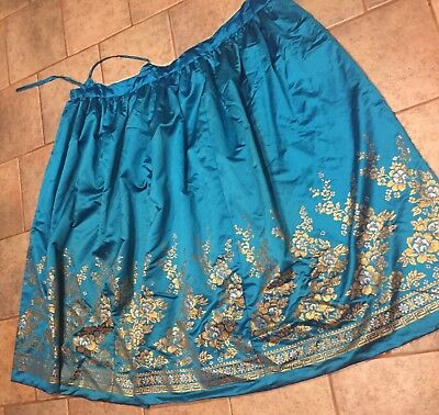 Hanbok Korean Traditional Skirt Only Costume for Women~Chiffon~Gold Floral Trim