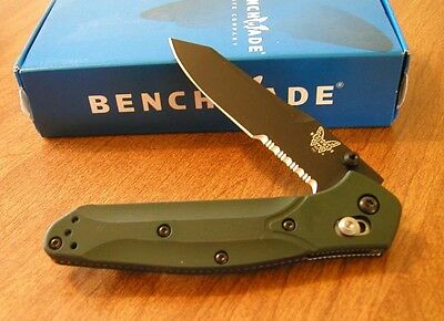 BENCHMADE New Green Handle Osborne Black Combo Edge S30V Blade Knife/Knives