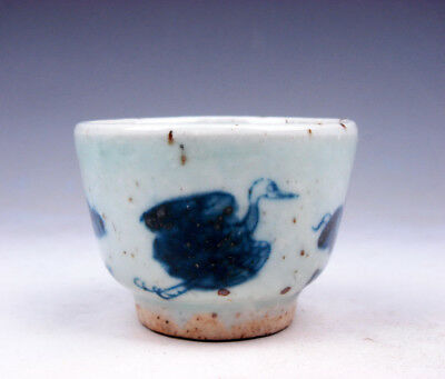 Antique Blue&White Porcelain Flying Birds Patterns Hand Painted Cup #10251701