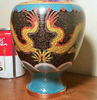 DRAGON enamel red black japanese cloisonne vase vtg asian art craft wave cloud
