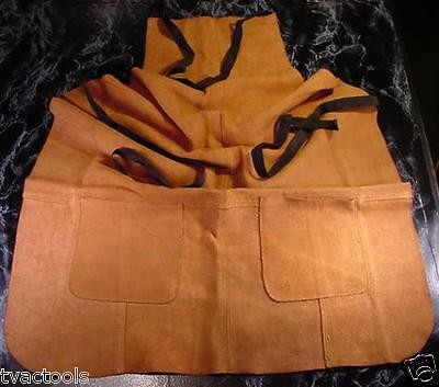 Tan all LEATHER WORK APRON with 2 POCKETS Shop Tool heavy thick big long ties