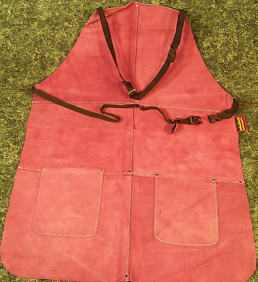 Violet All LEATHER WORK SHOP APRON with 2 POCKETS Heavy Duty Thick Big Long Ties