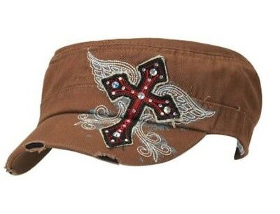 2ea46af41e866 Blazin Roxx Womens Baseball Cap Military Bling Cross Hat Brown 1503602 Rodeo