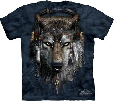 DJ Fen Wolf with Earphones and Feathers Hand Dyed Art T-Shirt XXL, NEW UNWORN