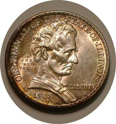 1918 LINCOLN Commemorative Half Dollar strong Mint LUSTER