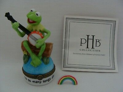 PHB Collection TM Henson Kermit The Frog With Banjo Hinged Trinket Box & Rainbow