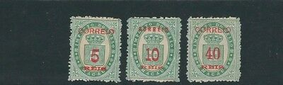 MACAU 1887 COAT of ARMS (Scott 32-34) VF MNH no gum as issued