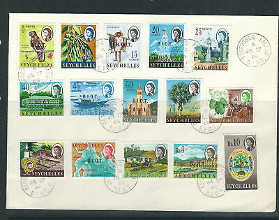 BRITISH INDIAN OCEAN PERRITORY 1968 FIRST SET complete on FDC (Sc 1-15)