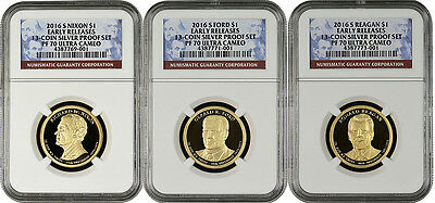 2016 S Presidential Dollar Set From 13-coin Silver Proof Set E.R. NGC PF70 U.C.