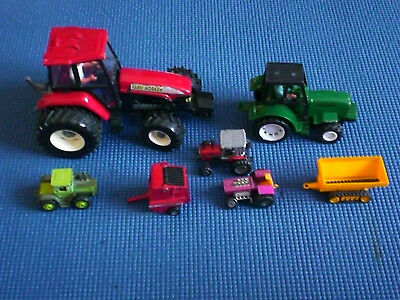 Job lot of 7 large and small old toy farm tractors and other vehicles
