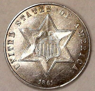 1861 Silver 3 Three Cent Piece Rotated Reverse Au/unc #6183