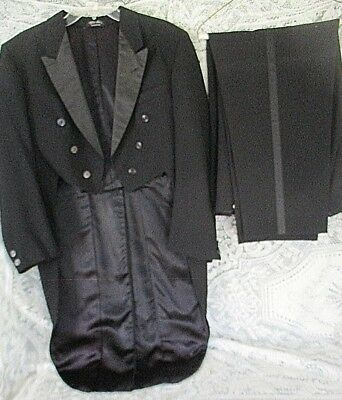 Vintage Men's Black Tuxedo w Tails After Six by Rudofker Jacket Sz 42 Pants 42 W