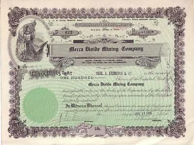 MECCA DIVIDE MINING CO 1919 issued & uncancelled stock certificate