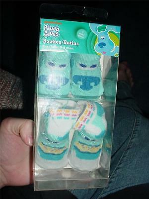 New Infant Nick Jr.blue's Clues Booties Socks Size 0-6 Months 2 Pair Baby