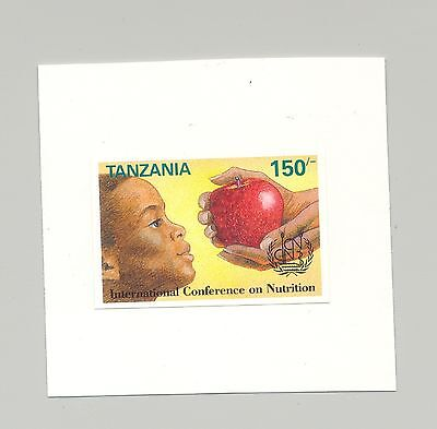 Tanzania #957 Nutrition, Food, 1v. imperf proof mounted on card