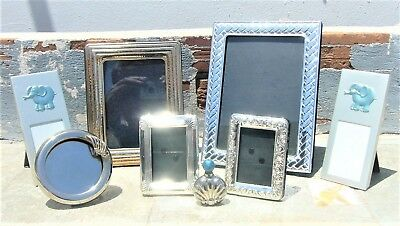 Vintage Lot 8 Items Silver Plated Baby Photo Picture Frames Baptism Favors