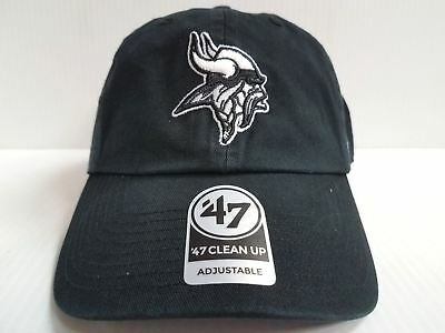 best loved 80db4 353fb Minnesota Vikings 47 Brand Cap Clean Up Adjustable Strapback Black Dad Hat