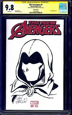 New Avengers #1 BLANK CGC SS 9.8 signed MOON KNIGHT SKETCH by Don Perlin LEGEND