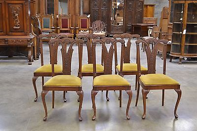 678 : Set Of Six 6 Antique European Carved Side Chairs Queen Anne