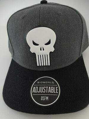 on sale ff462 d5f5d Punisher Skull Logo Chrome Weld Marvel Comics Snap Back Curved Bill Hat Nwt