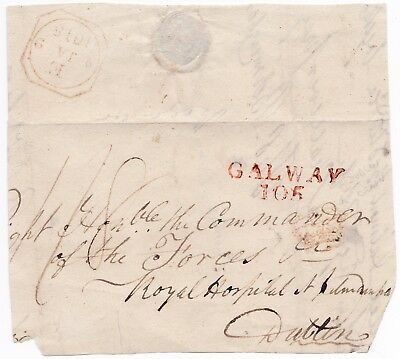 1815 Part Cover Red Galway & Dublin Inspector Crown Postmarks >Royal Hospital