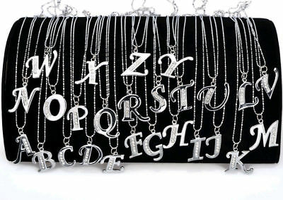 Personalised Silver Crystal Initial Letter Alphabet A - Z Pendant Necklace Chain