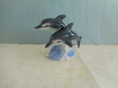 Swimming Pair of Dolphine Porcelian Ceramic Figurine