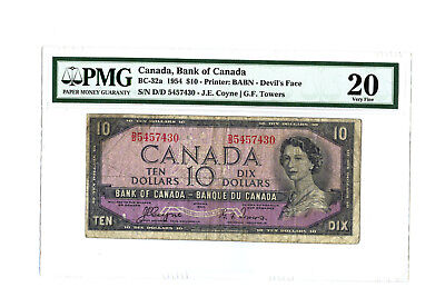 1954 $10 CANADA PMG 20 DEVIL'S FACE BC-32a BANKNOTE RARE S/N D/D 5457430