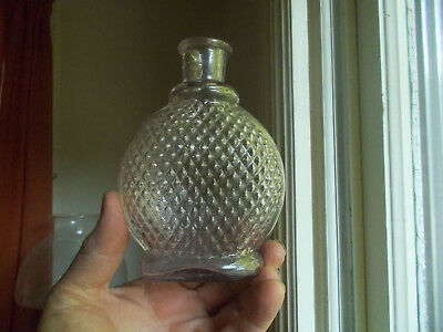 Rare Pontiled Diamond Hobnail Poison Flask With Emb Letter W 1880 Light Amethyst
