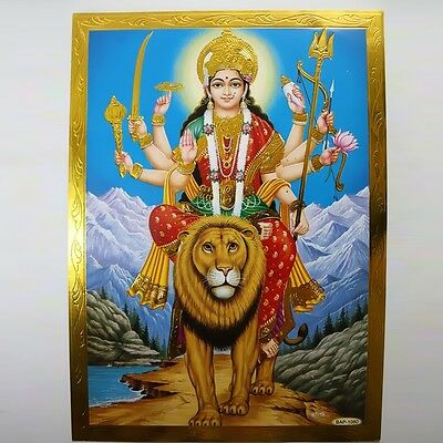 Altarpiece Durga, Embossing India Hinduism MA AMBA Picture Guru OM Puja 3