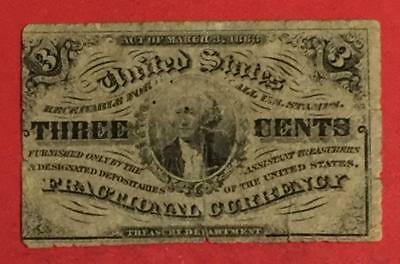 """1863 US Fractional Currency """"THREE CENTS"""" """"GEORGE WASHINGTON"""" Old Currency"""
