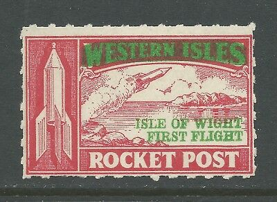 1934 GREAT BRITAIN rocket mail stamp - ISLE OF WIGHT - red with overprints