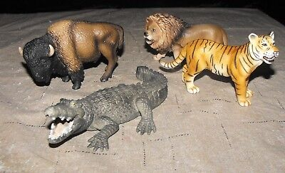 LOT of 4 SCHLEICH WILD ANIMALS BUFFALO/BISON TIGER LION ALLIGATOR