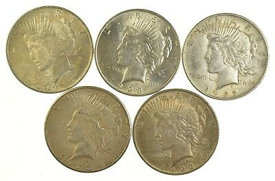 Lot of 5 1922 or 1923 Peace Silver Dollars - 90% Silver - Coin Collection *801