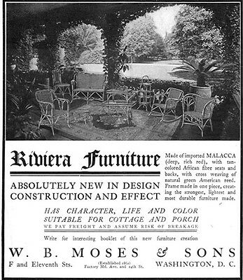 Riviera Furniture For Cottage And Porch W B MOSES & SONS Cross Weaving 1904 Ad