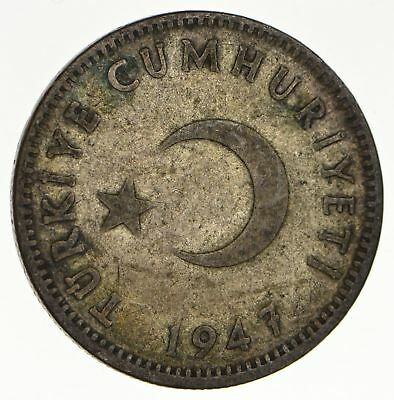 Roughly Size of Quarter - 1947 Turkey 1 Lira - World Silver Coin 7.4 Grams *708