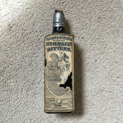 Antique DR J HOSTETTER'S Stomach BITTERS Brown Glass Medicine Bottle 18oz