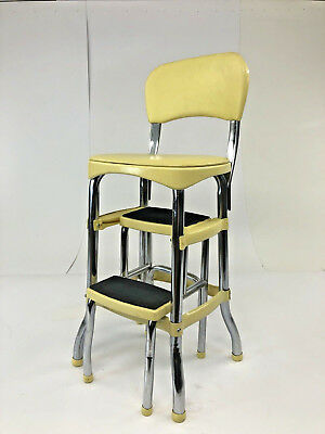 Vintage YELLOW COSCO STEP STOOL kitchen metal mid century modern 60s side chair