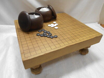 Vintage Japanese Wooden GO BOARD GAME with STONES Strategy Game Goban Go-Ishi#55