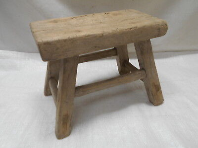 Vintage Handmade Small Chinese Milking Stool Wooden Seat Recycled Material #206