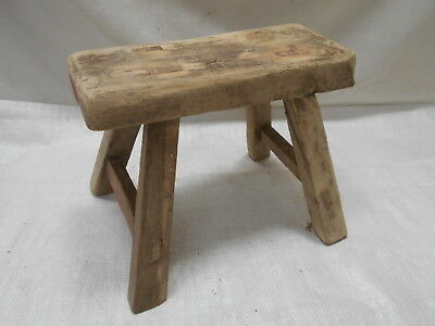 Vintage Handmade Small Chinese Milking Stool Wooden Seat Recycled Material #211