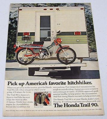 1972 Print Ad Honda Trail 90 Motorcycles with Reserve Tank
