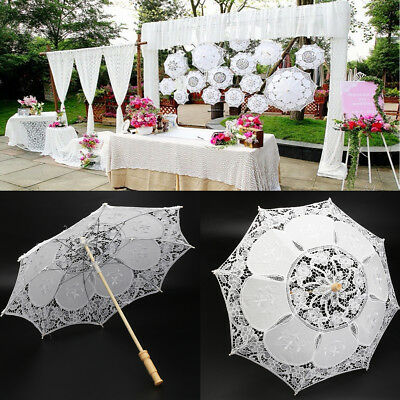 Vintage 23'' White Lace Embroidered Parasol Sun Umbrella Bridal Wedding Decor