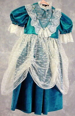 Girls Teal Satin And Lace Dress Size Small For Old Time Photos