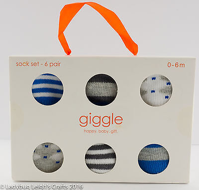 Lot of 6 NIP Baby Boy Socks by Giggle 0 - 6 Months Gift Box Blue Gray White
