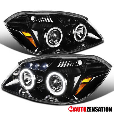 05-10 Cobalt 07-09 G5 Slick Black LED DRL Dual Halo Projector Headlights Pair