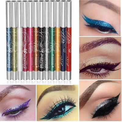 12x Colors Glitter Eye Shadow Eyeliner Lip Liner Pencil Pen Cosmetic Makeup Set