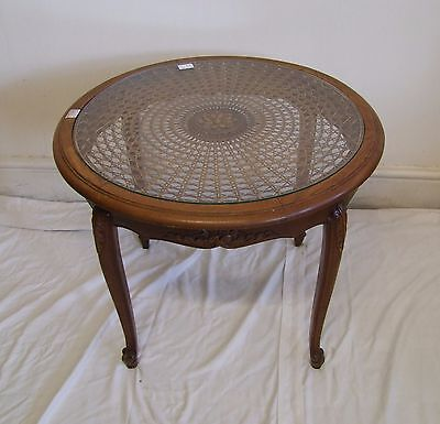 French Carved Oak/Glass/Bergere Canework Circular Coffee Table - (117134)